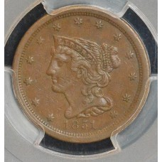 1/2c Half Cent Penny 1851 EF45 PCGS lustrous choc brown choice