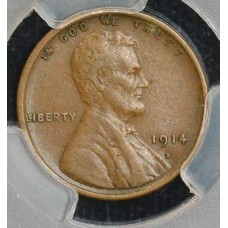 1c One Cent Penny 1914 S EF45 PCGS lustrous choc brown