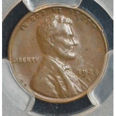 1c One Cent Penny 1924 S AU53 PCGS choice glossy & lustrous