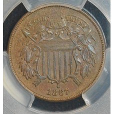 2c Two Cents 1867 AU55 PCGS looks UNC most call slider