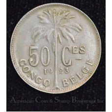 Congo Free State 50 Centimes 1923 AU55 CN KM#22 lustrous edge