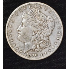 $1 One Dollar 1890 S EF40 orig. gold gray tone