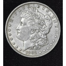 $1 One Dollar 1891 P AU55 lustrous lt gld tn