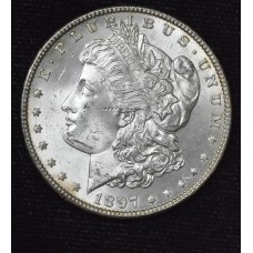 $1 One Dollar 1897 P MS63+ blazing luster choice