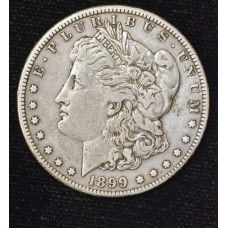 $1 One Dollar 1899 S VF25 light gold gray tone
