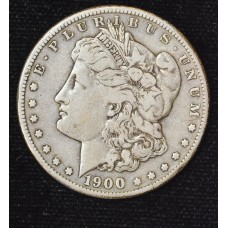 $1 One Dollar 1900 S F15 light gold gray hue