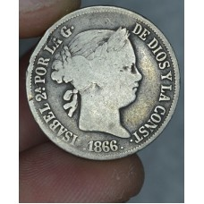 Philippines 20 Centimos 1866 F15 silver KM#149 gld gry tn