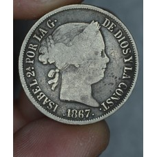 Philippines 20 Centimos 1867 F15 silver KM#149 gld gry tn