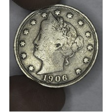 5c Nickel Five Cents 1906 F12 gold toning
