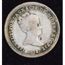 Spain 1 Real 1838 CL VG10 silver KM#518.1 grey