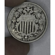 5c Nickel Five Cents 1867 VG8 No Rays light even grey