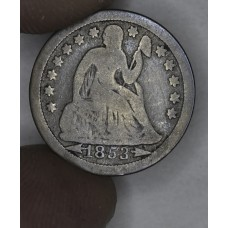 10c Cent Dime 1853 VG8 W/Arrows med gold br