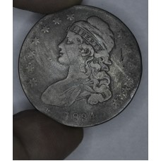 50c Cent 1/2 Half Dollar 1834 F12 Small Date Small Letters steel gry