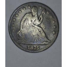 50c Cent 1/2 Half Dollar 1875 G6 deeper grey toning
