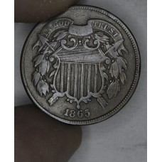 2c Two Cents 1865 VG10 Plain 5 dark brown toning