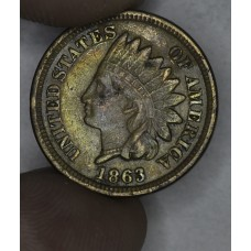1c One Cent Penny 1863 VF30 light orig toning