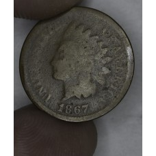 1c One Cent Penny 1867 AG3+ smooth chocolate brown color