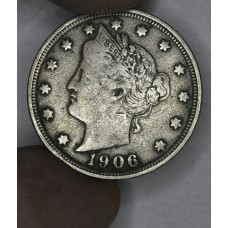 5c Nickel Five Cents 1906 F15 light gold some grey