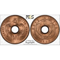 East Africa 5 Cents 1964 MS65 RD PCGS bronze KM#39 RED