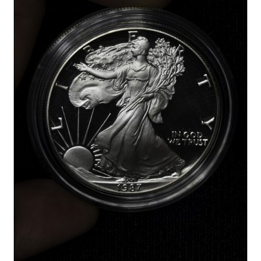 $1 One Dollar 1987 S Eagle Proof DCAM in cap no box/coa