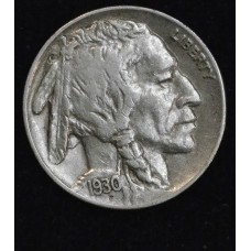 5c Nickel Five Cents 1930 S AU50 lustrous pewter; full horn