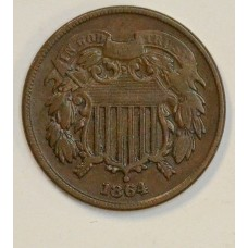 2c Two Cents 1864 VF20 Large Motto even chocolate brown