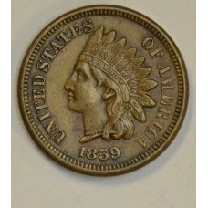 1c One Cent Penny 1859 EF45 lustrous lt toned edge CH
