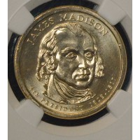 $1 One Dollar 2007 P Pres. MS65 J. Madison NGC FDI