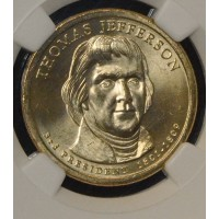 $1 One Dollar 2007 P Pres. MS65 T. Jefferson NGC FDI