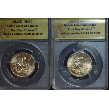 $1 One Dollar 2009 PD SAC MS67 ANACS 1st Day issue set