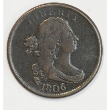 1/2c Half Cent Penny 1806 F15 Small 6 Stemless almost full VF