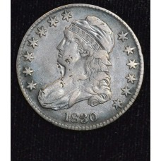 50c Cent 1/2 Half Dollar 1830 EF Details Small 0 obv digs rich tn