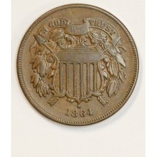 2c Two Cents 1864 EF45 Large Motto even glossy brown & choice