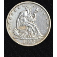 50c Cent 1/2 Half Dollar 1858 O EF40 bright even grey