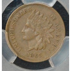 1c One Cent Penny 1865 EF40 Fancy 5 PCGS sharp liberty CH