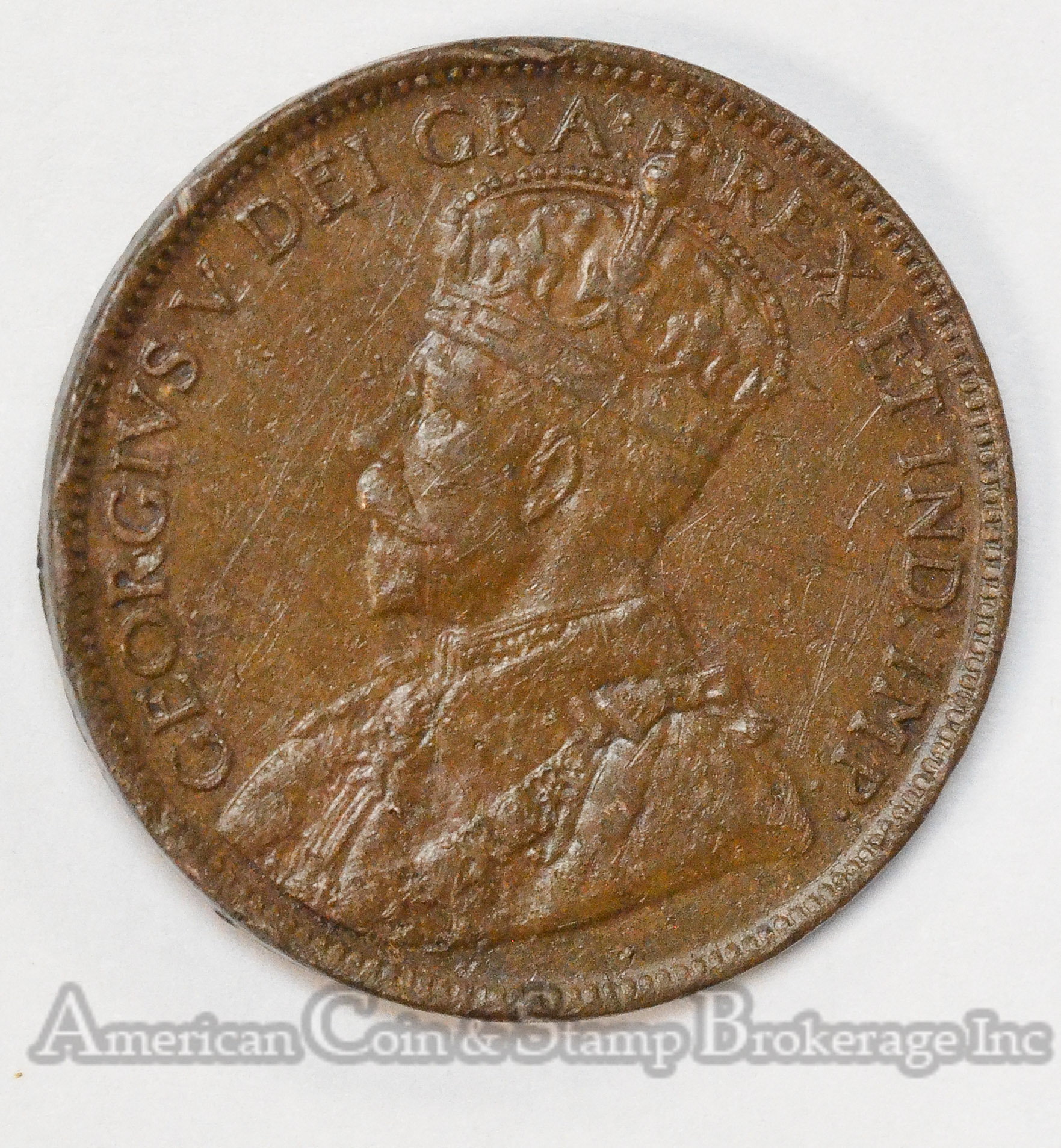 Canada 1c One Cent 1917 bronze King George V 2